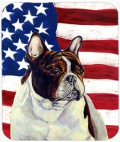 Caroline's Treasures USA American Flag with French Bulldog MousePad Mousepad(Multicolor)