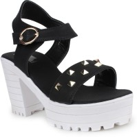 London Steps Women Black Heels
