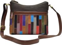 shankar produce Women Brown Genuine Leather, Canvas Sling Bag