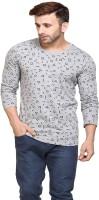 Inkovy Printed Men's Round Neck Grey T-Shirt