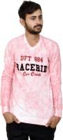 JG FORCEMAN Printed Men Round or Crew Denim Pink, Black T-Shirt