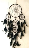 GIRISHA AND SON Dream Catcher Wall Hanging Soft Black Color Dream Catcher for Attractive Dream (6 inch ring) Wool Windchime (20 inch, Black) Decorative Showpiece  -  32 cm(Feather, Black)