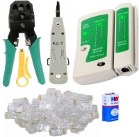 View BalRama Combo Crimping Tool + Network LAN Cable Tester + RJ 45 Connectors Cable Plug Heads Multifunctional Tools for IT Laptop Computer Network Profeesionals Manual Crimper Combo Set Laptop Accessories Price Online(BalRama)