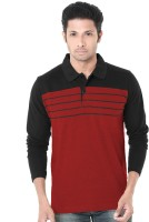Wexford Color Block Men Polo Neck Red, Black T-Shirt