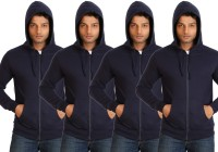 Campus Sutra Full Sleeve Solid Men Fleece Jacket