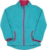 Nautica Full Sleeve Solid Girls Fleece Jacket Jacket