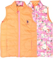 US Polo Kids Sleeveless Solid, Printed Girls Jacket