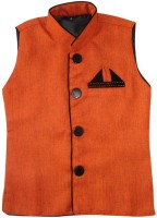 Globe Sleeveless Solid Boys Linen Nehru  Jacket