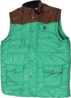 Us Polo Kids Sleeveless Self Design Boys Quilted Jacket