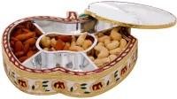 Halowishes Golden Meenakari Work Apple Design Dryfruit Box Wooden Decorative Platter(Gold)