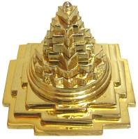 Magic Stones Brass Shree Meru Yantra (Energized) Made up of Metal For wealth,Prosperity,Luck, Success & Financial - Meru shri yantra - 7.5 x 7.5 x 7cm Decorative Showpiece  -  7 cm(Brass, Gold)