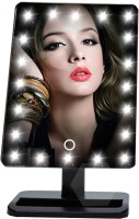 24x7 Unique Portable LED Touch Screen Makeup Mirror 20 LEDs Lighted Make-up Cosmetic Mirror Adjustable Vanity Tabletop Countertop Bathroom Mirror (Black) Lighted Mirror(Rectangle)