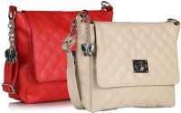 Butterflies Women Red, Beige PU Sling Bag