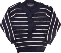 ICABLE Striped Round Neck Casual Baby Girls Black Sweater