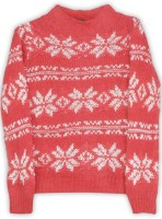 United Colors of Benetton. Self Design Round Neck Casual Baby Girls White, Orange Sweater
