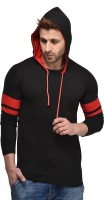 Kay Dee Solid, Color block Men Hooded Black T-Shirt