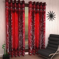 Home Sizzler 214 cm (7 ft) Polyester Door Curtain (Pack Of 2)(Abstract, Maroon)