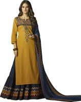 Patiala House Cotton Embroidered Semi-stitched Salwar Suit Dupatta Material