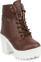 London Steps Boots For Women(Brown)