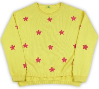United Colors of Benetton. Self Design Crew Neck Casual Girls Yellow Sweater