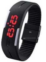 Apro Rubber Magnet Led Black Watch Watch  - For Men & Women
