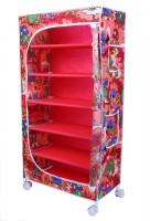 LITTLE ONE'S 6 Shelves Powder Coated Carbon Steel Collapsible Wardrobe(Finish Color - Jungle Red)