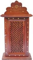 WoodCart Key Box Jali Design For Wall Hanging H@ndmade Wood Key Holder(8 Hooks, Brown)