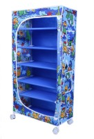 LITTLE ONE'S 6 Shelves Powder Coated Carbon Steel Collapsible Wardrobe(Finish Color - Jungle Blue)
