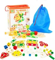 Emob 78 Pcs Wooden Nut Combination Mechanical Construction Blocks Set Toy For Kids(Multicolor)