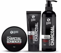 Beardo Charcoal Combo - Face Scrub, Face Wash & Body Wash ( Set of 3 )(Set of 3)