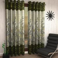 Home Sizzler 153 cm (5 ft) Polyester Window Curtain (Pack Of 2)(Floral, Green)