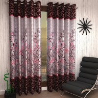 Home Sizzler 214 cm (7 ft) Polyester Door Curtain (Pack Of 2)(Floral, Maroon)