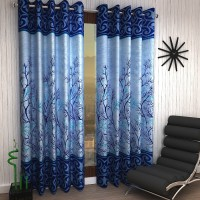 Home Sizzler 214 cm (7 ft) Polyester Door Curtain (Pack Of 2)(Floral, Blue)