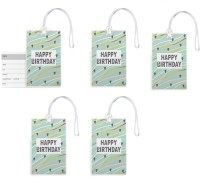 100yellow 100yellow -Happy Birthday Printed Luggage Tags PVC Bag Tag with Silicon Strap- Ideal For Gift-Pack Of 5 Luggage Tag(Multicolor)