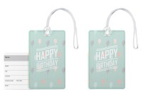 100yellow Designer Luggage Tag- Happy Birthday Print PVC Bag Tag with Silicon Strap- Ideal For Gift-Pack Of 2 Luggage Tag(Multicolor)