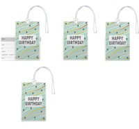 100yellow 100yellow -Happy Birthday Printed Luggage Tags PVC Bag Tag with Silicon Strap- Ideal For Gift-Pack Of 4 Luggage Tag(Multicolor)
