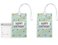 100yellow 100yellow -Happy Birthday Printed Luggage Tags PVC Bag Tag with Silicon Strap- Ideal For Gift-Pack Of 2 Luggage Tag(Multicolor)