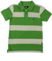 Flying Machine Boys Striped Cotton T Shirt(Green, Pack of 1)