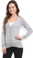 Arrow Solid V-neck Casual Women's Grey Sweater