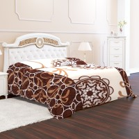 Signature Geometric Double Mink Blanket(Microfiber, Brown)
