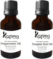 KAZIMA Combo of Pure Pumpkin Seed Carrier oil & Peppermint Oil (Each 30ml ) Ideal for Use in Aromatherapy, Anti Hair Fall Control, Hair Growth and Health Boost Hair Oil(30 ml)