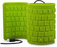 Oxza 103 Keys Maxpro USB Silicone Rubber Waterproof Flexible Foldable Wired USB Laptop Keyboard(Green)