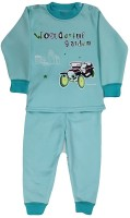 Icable Kids Nightwear Boys & Girls Self Design Cotton(Green Pack of 1)