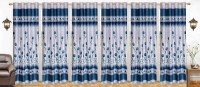 Ville Style 214 cm (7 ft) Polyester Door Curtain (Pack Of 6)(Floral, Light Blue)