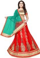 Manvaa Embroidered Semi Stitched Lehenga, Choli and Dupatta Set(Red)