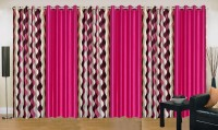 Ville Style 214 cm (7 ft) Polyester Door Curtain (Pack Of 6)(Abstract, Pink)