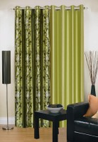 Ville Style 275 cm (9 ft) Polyester Long Door Curtain (Pack Of 2)(Abstract, Green)
