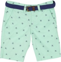 United Colors of Benetton Short For Boys Casual Printed Cotton(Green, Pack of 1)