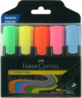 Faber-Castell Textliner Assorted Set Of 5 (Classic)(Set of 5, Green, Yellow, Orange, Pink, Blue)