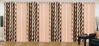 Ville Style 214 cm (7 ft) Polyester Door Curtain (Pack Of 8)(Abstract, Brown, Beige)